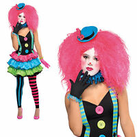 Girls Cool Clown Costume Amscan Teen Child Costume & Footless Tights Fancy Dress