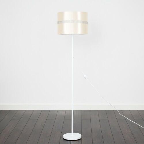 Modern White Floor Lamp Metal MiniSun Light Large Diamante Shade LED Lightbulb
