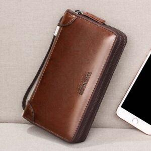 Men/'s PU Leather Long Wallet Business Handbag Clutch Double Zipper Phone Purse