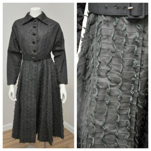 VTG Vintage 50s 1950s Black Taffeta Princess Coat