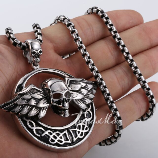 NEW Punk Skull Wings Men Chain Silver 316L Stainless Steel Pendant Necklace GIFT