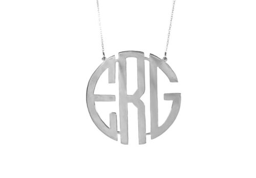 Circle Block Monogram,Name Necklace,Personalised Handmade 925Silver Necklace 1/'/'