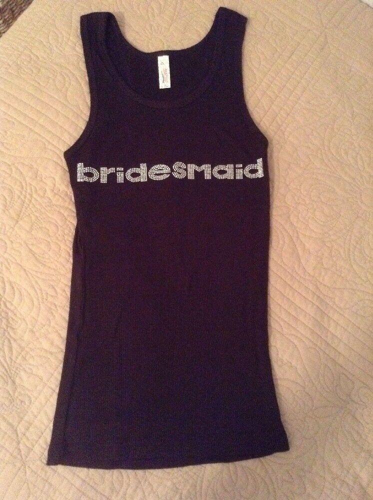 BRIDESMAID BLACK TANK TOPS CRYSTAL BLING RHINESTONES SIZE M Bridal Lot Of 2