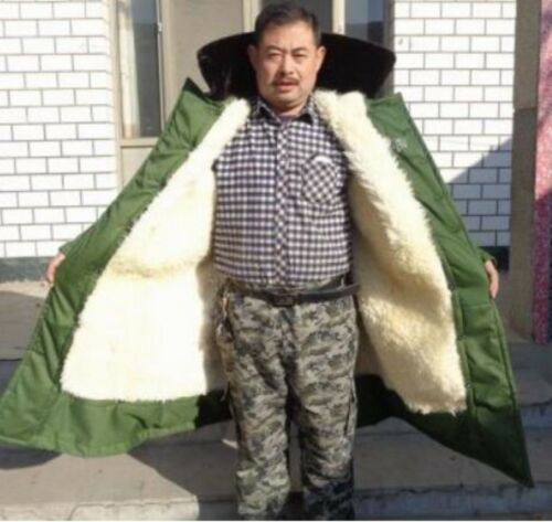 Homme épais doublé de fourrure synthétique Militaire Parka Extérieur Travail Veste Pleine Longueur
