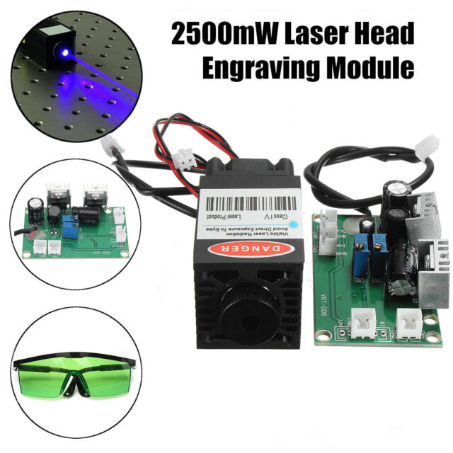 Focusable 1.6W 450nm 12V Blue Laser Diode Module TTL Carving Engraver + Goggles