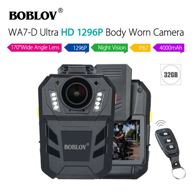 BOBLOV HD WA7-D 1296P 32 GB corps portés enregistreur télécommande 170 ° FOV