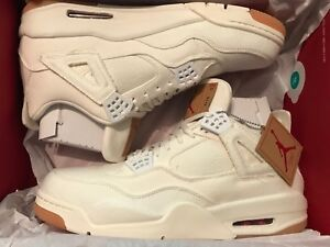 new style 78e66 ce5bd Details about Nike Air Jordan 4 Retro IV NRG x Levis White Denim Size 13  AO2571 100 New DS