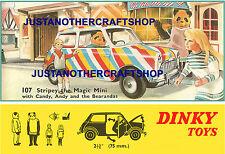 DINKY TOYS 107 Stripey MAGIC MINI 1967 grandi dimensioni Poster Pubblicità firmare il foglio illustrativo.