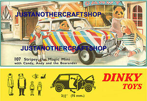 Dinky-Toys-107-Stripey-The-Magic-Mini-1967-Large-Size-Poster-Advert-Sign-Leaflet