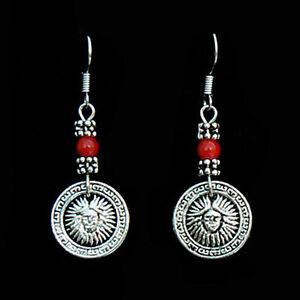 Boucles d/'oreilles Tibétaines en Argent Tibétain