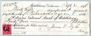 1898-MIDDLETOWN-DELAWARE-CITIZENS-BANK-PROMISSORY-NOTE-2-CENT-STAMP-CROSSAN