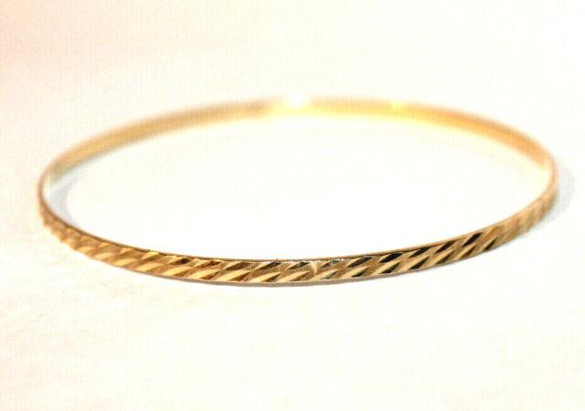 "14k Yellow Gold Florentine Etched Bangle Hinged Bracelet 7/"" 5mm 3//16 4.5 grams"