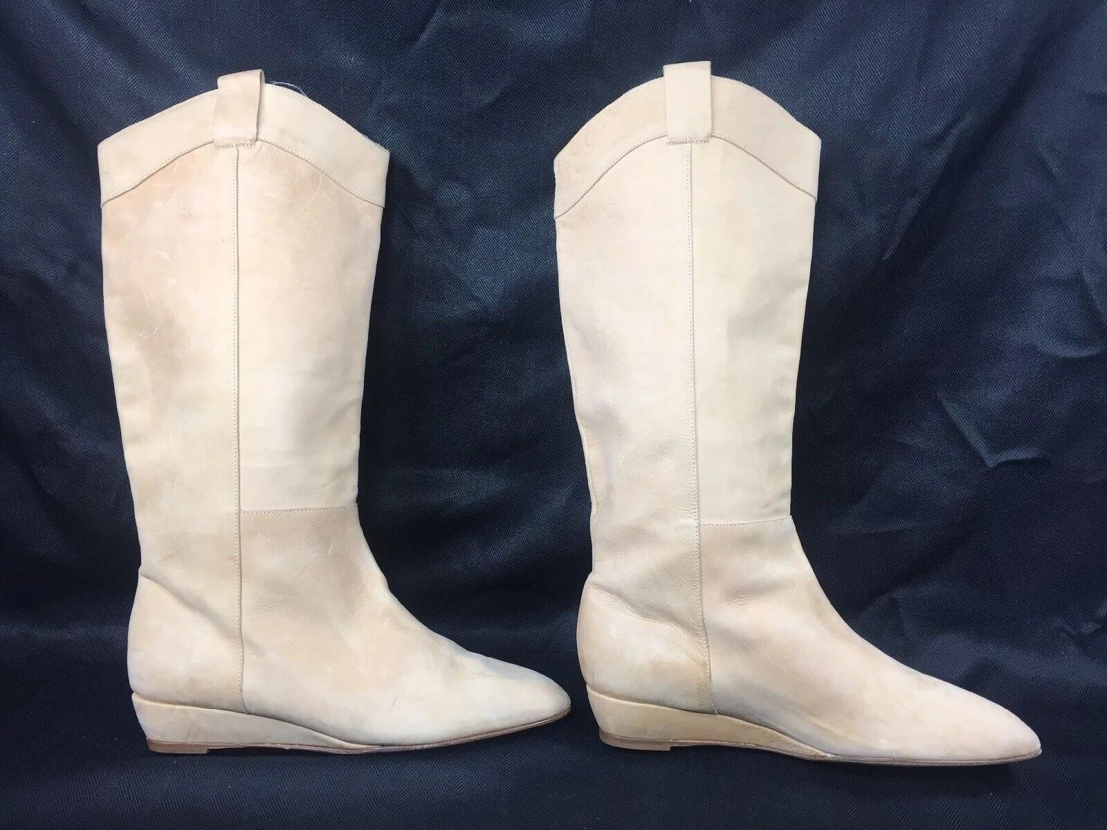 LOEFFLER RANDALL  695 Tall Knee High Low Wedge Boots Minimalist Calfskin Nude  7