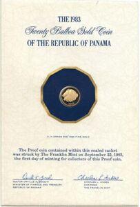 PANAMA-Gold-20-Balboas-1983-oro-Mariposa-Fish-KM-92-Proof-FDC-low-mintage-1671