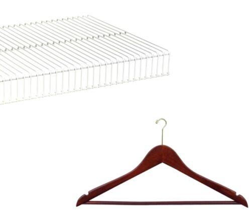 Shirt Wood Hanger W// Pant Bar 10 Registry Wire Small Hook Walnut /& Brass Suit