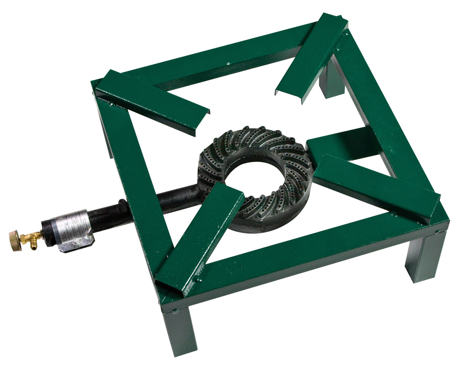 Fornellone a gas cm 40x40 in acciaio verde con bruciatore per campeggio casa
