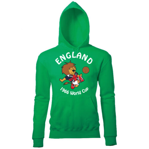 WORLD CUP WILLY MENS ENGLAND FOOTBALL MASCOT 1966 RETRO PRINT HOODIE