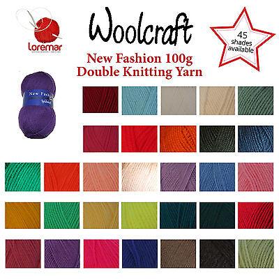 Woolcraft DK Wool/Yarn, New Fashion Double Knit 100g, 100% Acrylic, 45 shades