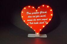 Herz rot Heiratsantrag Wunschtext-Gravur 20 LED`s 23x23cm auf Ständer,