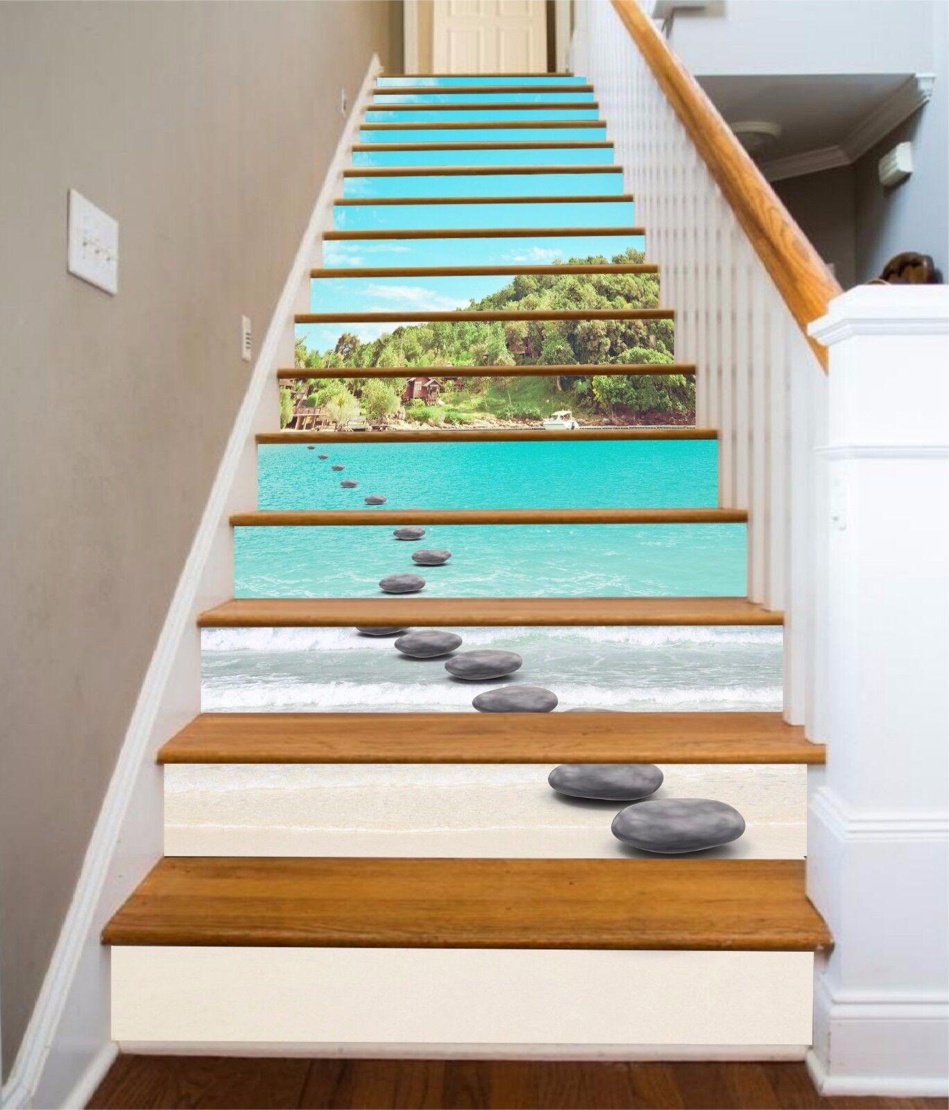 3D Bay Stones Road Stair Risers Decoration Photo Mural Vinyl Decal Wallpaper AU