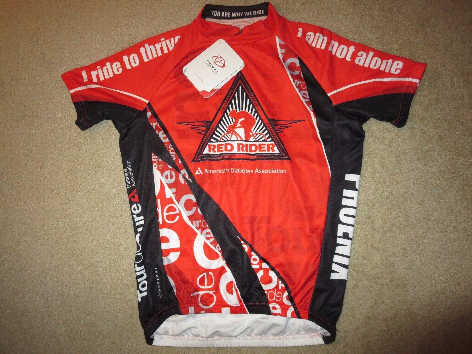 Rosso Rider Diabetes ADA Cycling Biking Primal Raglan Jersey SM S Small mens NEW