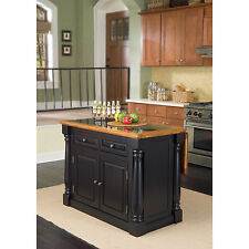 Home Styles Monarch Distressed Oak and Granite Top Black Wooden Kitchen Island