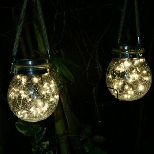 LED Modern Garden Solar Powered Hanging Crack Glass Jar Outdoor Decorative Light