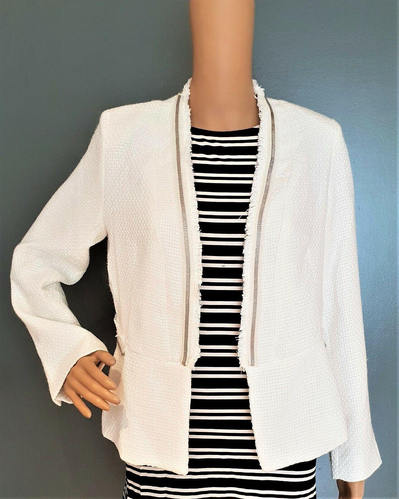 Women's Tailored Open Front Tweed White Blazer Size XL