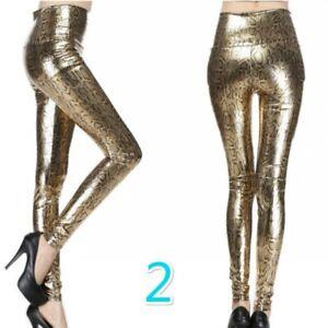 Women Splice Sequins Leggings Faux Leather Skinny Pencil Pants Glitter