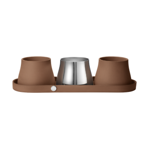 Georg Jensen Terra Terracotta Stainless Steel Tray /& Set of 3 Pots 10017658
