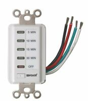 Woods 59007 Decora Style 30-15-10-5 Minute Preset Wall Switch Timer, White, 30-m on sale