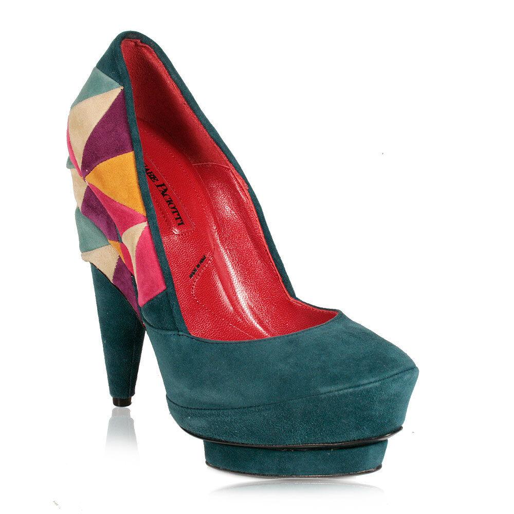 Cesare Paciotti Womens shoes Green Multi-color Patchwork Pumps Retails for  800