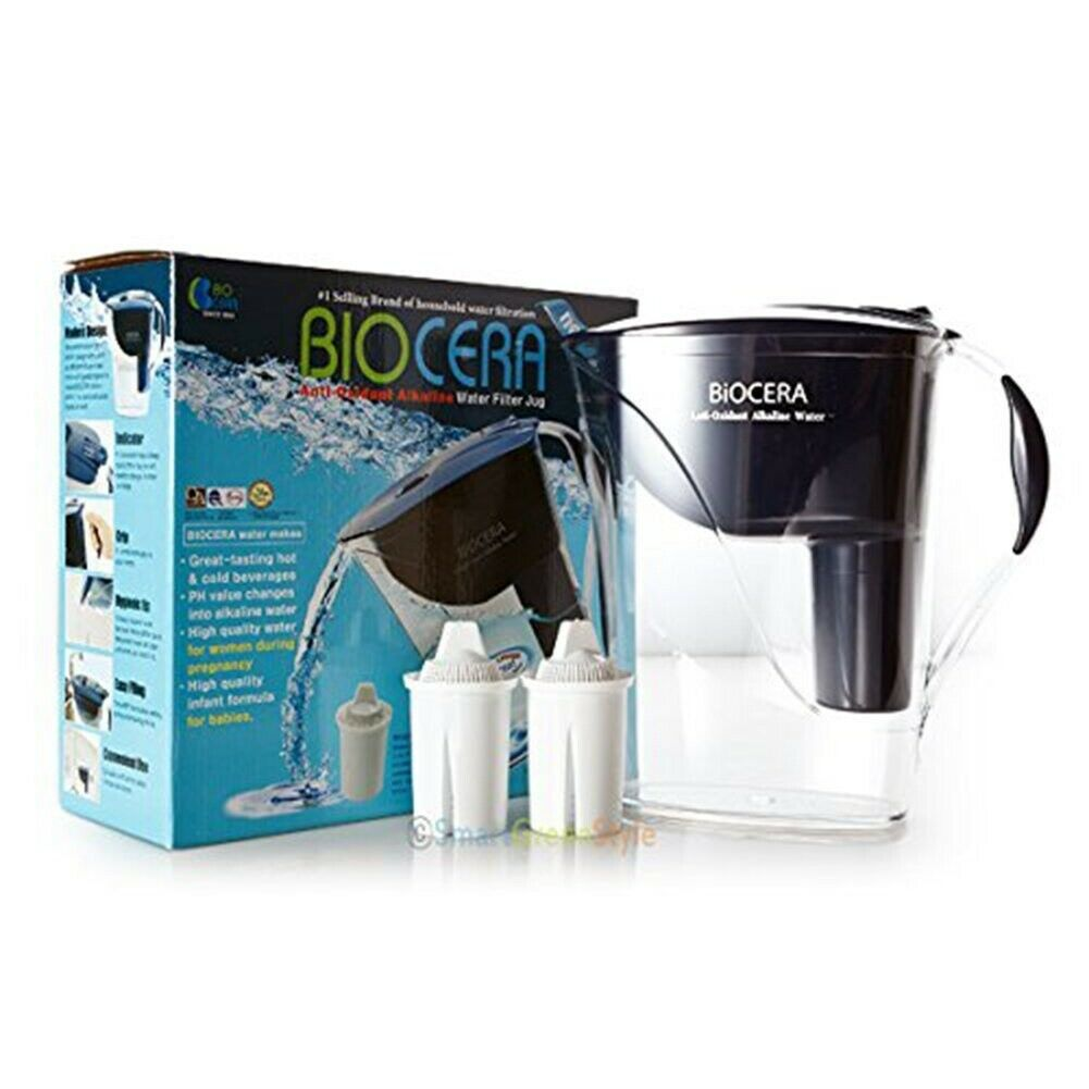 Biocera Alkaline Pitcher Anti Oxidant Water Jug Filter Jug 2 Cartridge