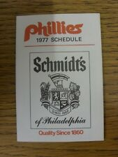 1977 Fixture Card: Baseball - Philadelphia Phillies (fold out style). Any faults