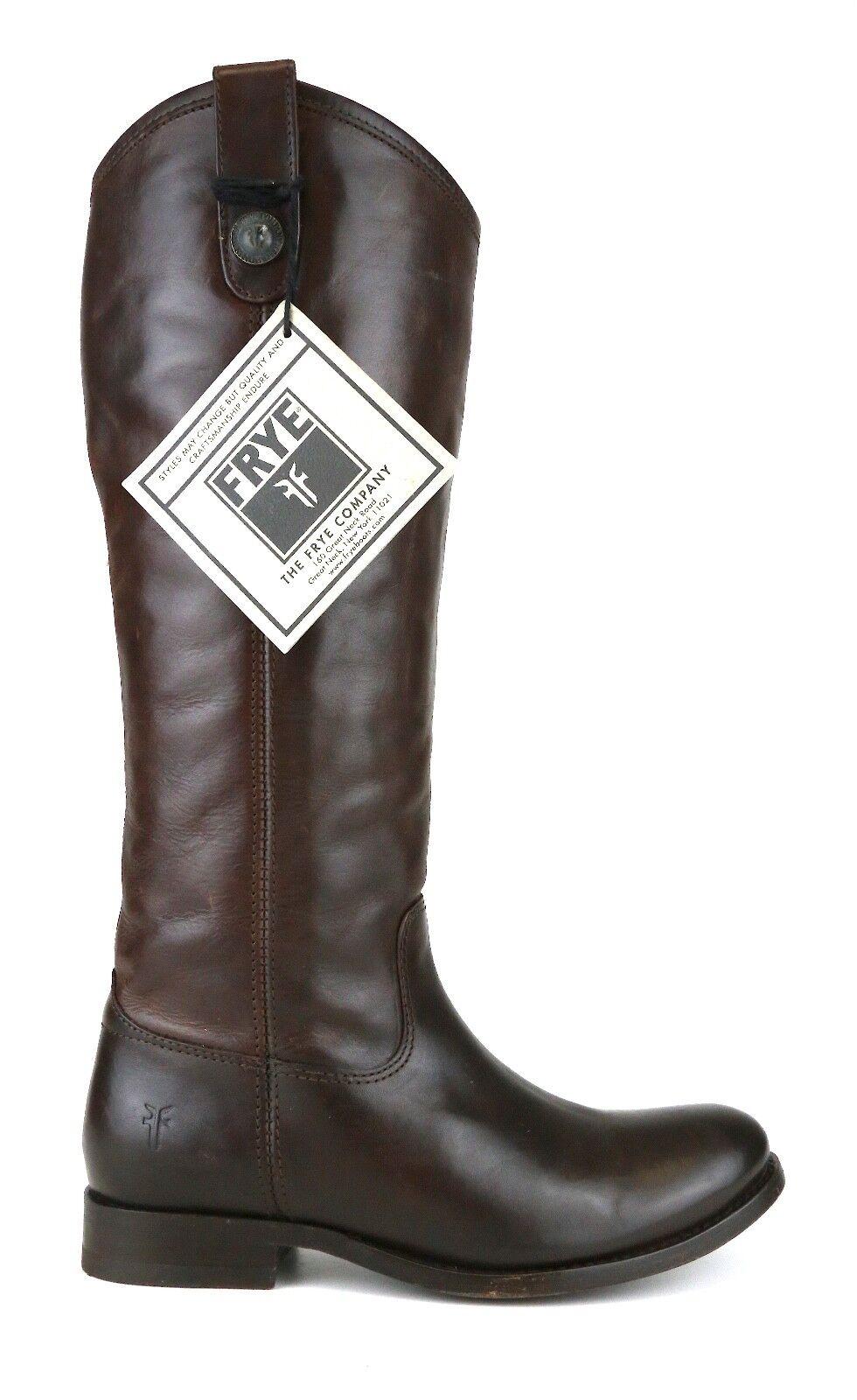 Frye Melissa Button Cuero Bota Bota Bota de Montar a Caballo Marrón Oscuro Mujeres talla 5.5 B 5422   excelentes precios