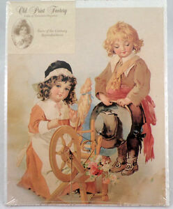 Victorian-Lithograph-Print-Picture-Spinning-The-Wheel-Of-Love-Children-8-034-X-10-034
