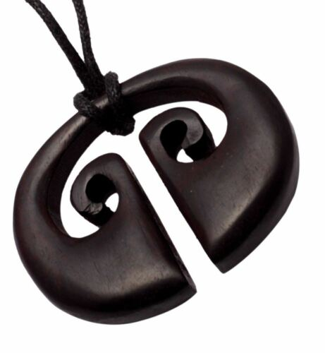 Hand Carved Ebony Boho Wooden Hippie USA Wood Pendant Necklace For Girls P/_1196