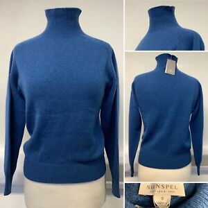 BNWT - Sunspel Blue 100% Lambswool Jumper - Sz S