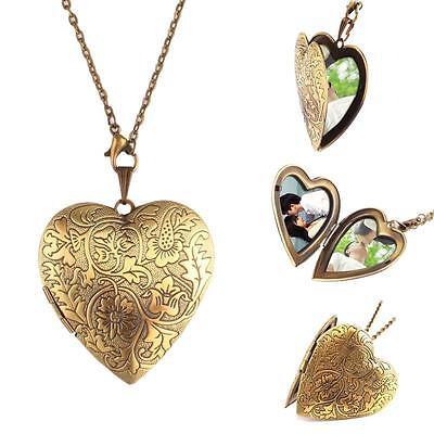 Fashion Bronze Heart Friend Photo Picture Frame Locket Pendant Chain Necklace