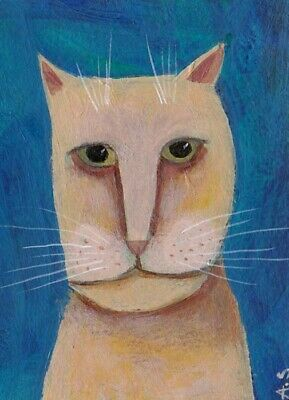 ACEO Original Cat Folk Art Acrylic Painting Outsider Paintings Quirky Funny Illustration ATC Artist Trading Card Whimsical Collectible OOAK
