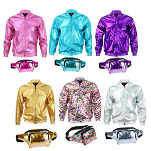 a8d8d395 Details about 70s 80s 90s Foil Metallic Shiny RAVE Bomber Jacket Hologram  Festival Fancy Dress