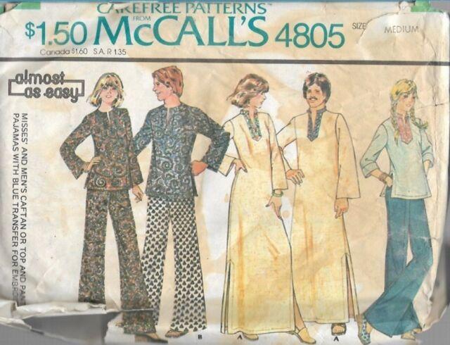 McCall's 4805 Mens Unisex 38-40 Caftan Top Pants PJs Guru Hippie Size Md 1975