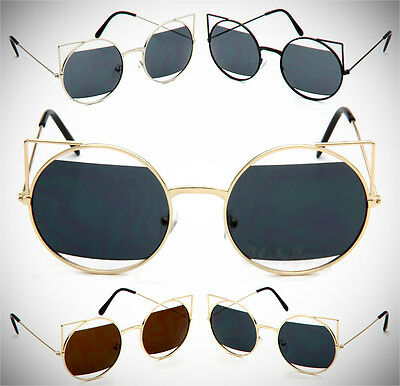 Vintage Fashion Round Cut Out Cat Eye Retro Women Metal Sunglasses
