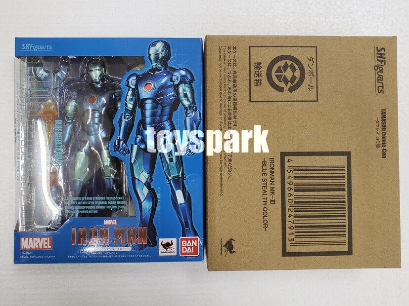 Tamashii Comic-Con Exclusive S.H. Figuarts IRONMAN Mark Mk 3 Blau Stealth Farbe