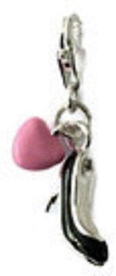 Negro y Plateado Zapatos Tacón Alto y Rosa Corazón Clip En Placa de Plata del Encanto - 925