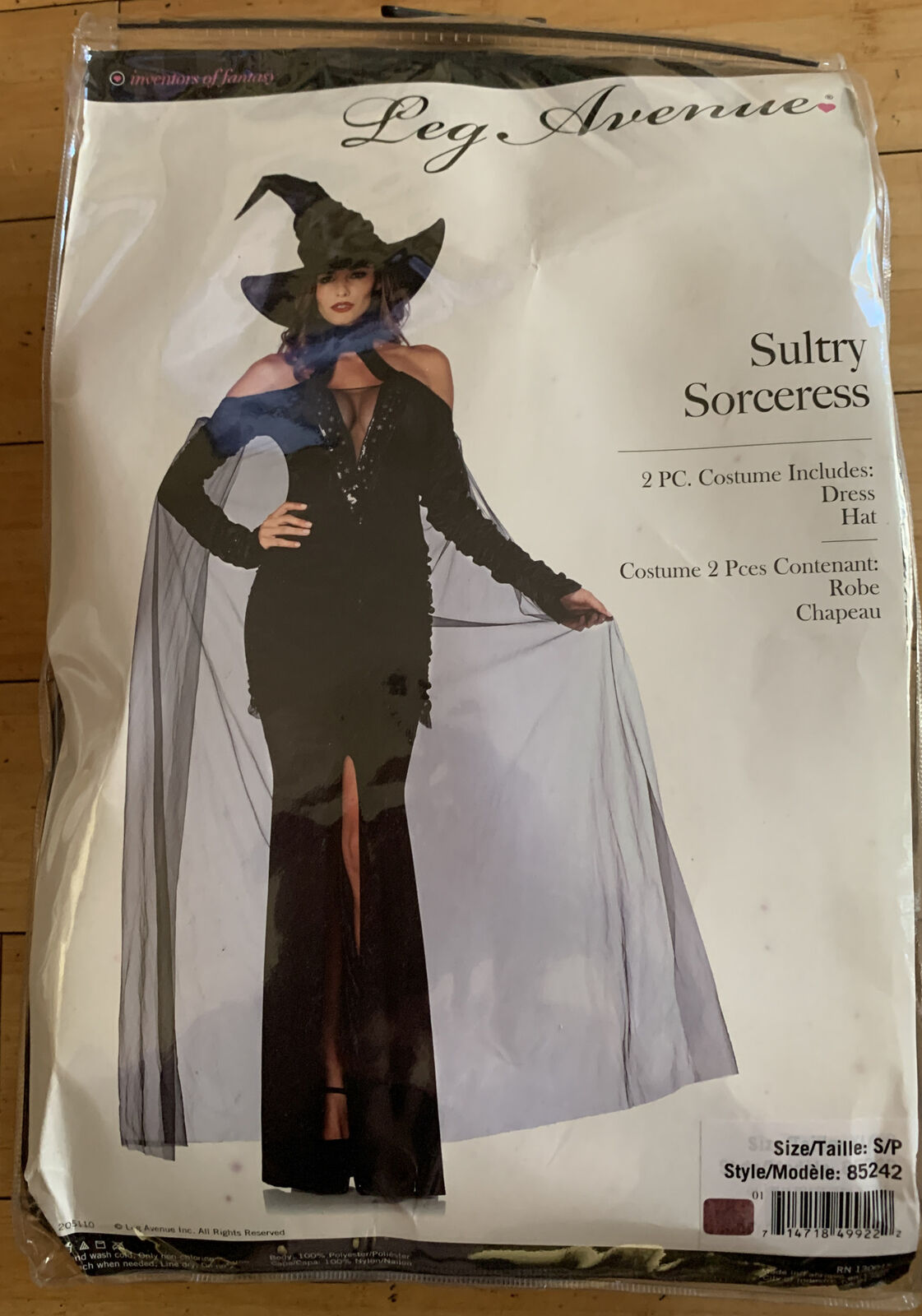 NEW 2 Pc Leg Avenue SULTRY SORCERESS Witch Costume Women's Sz Small Dress & Hat