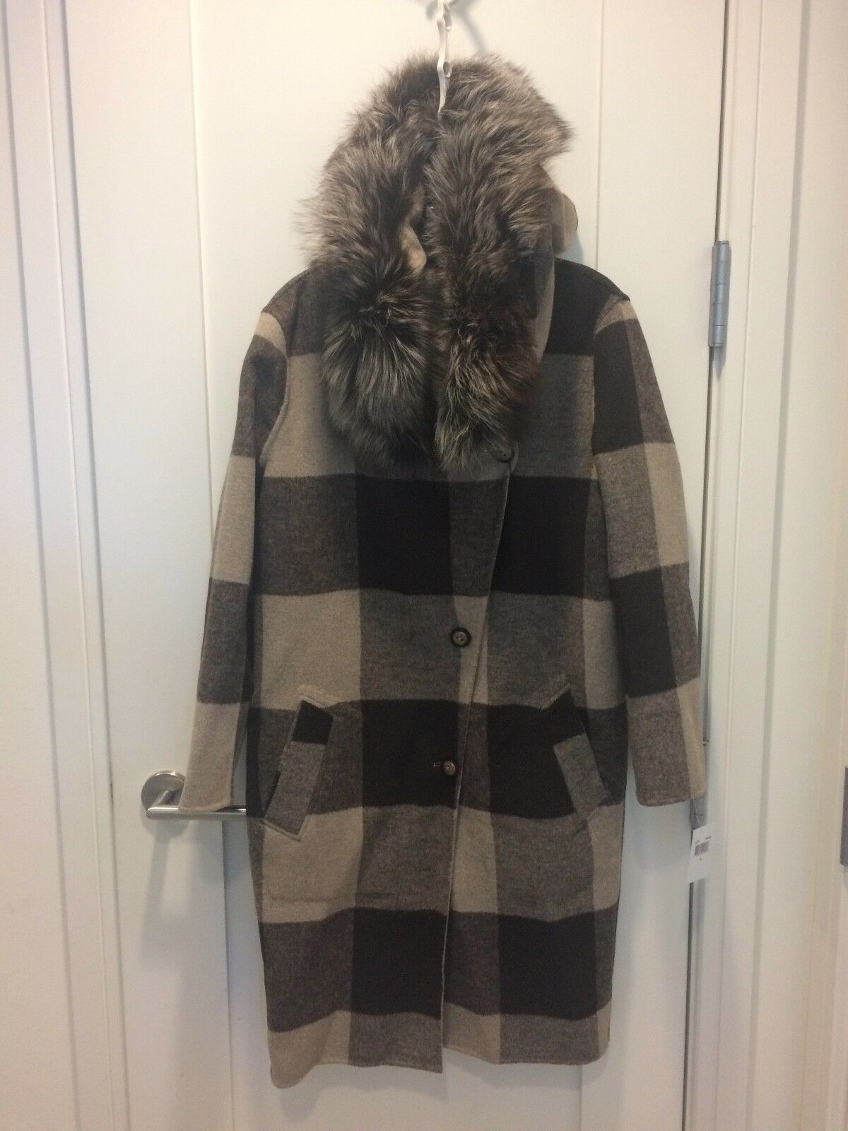 Belle Fare Oatmeal Reversible Wool Cashmere Coat & Fox Fur NWT Size Large  1450