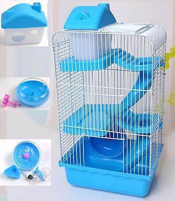 Hamster Cage Mouse Mice Rat Castle House 3 Layers Pet Basket Animal Habitat Blue