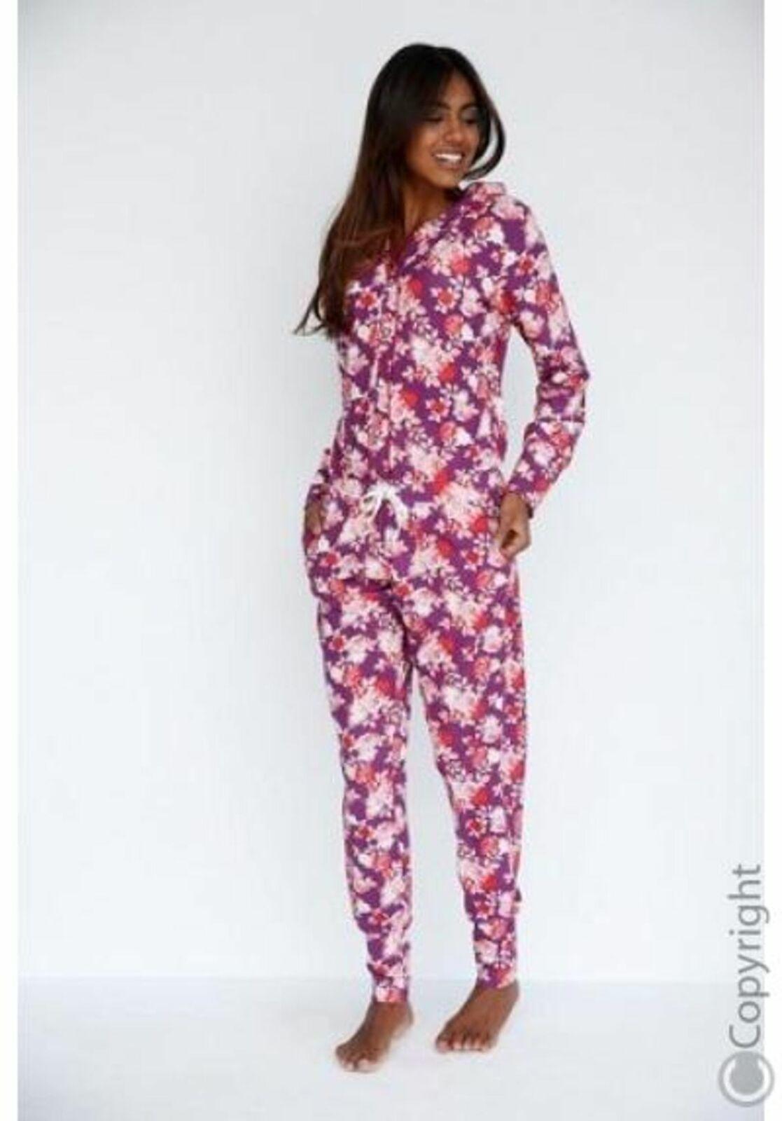 Abeja Feliz de Rösch Bodywear Mono Juego Casa Pijama Floral red Nuevo 48 50