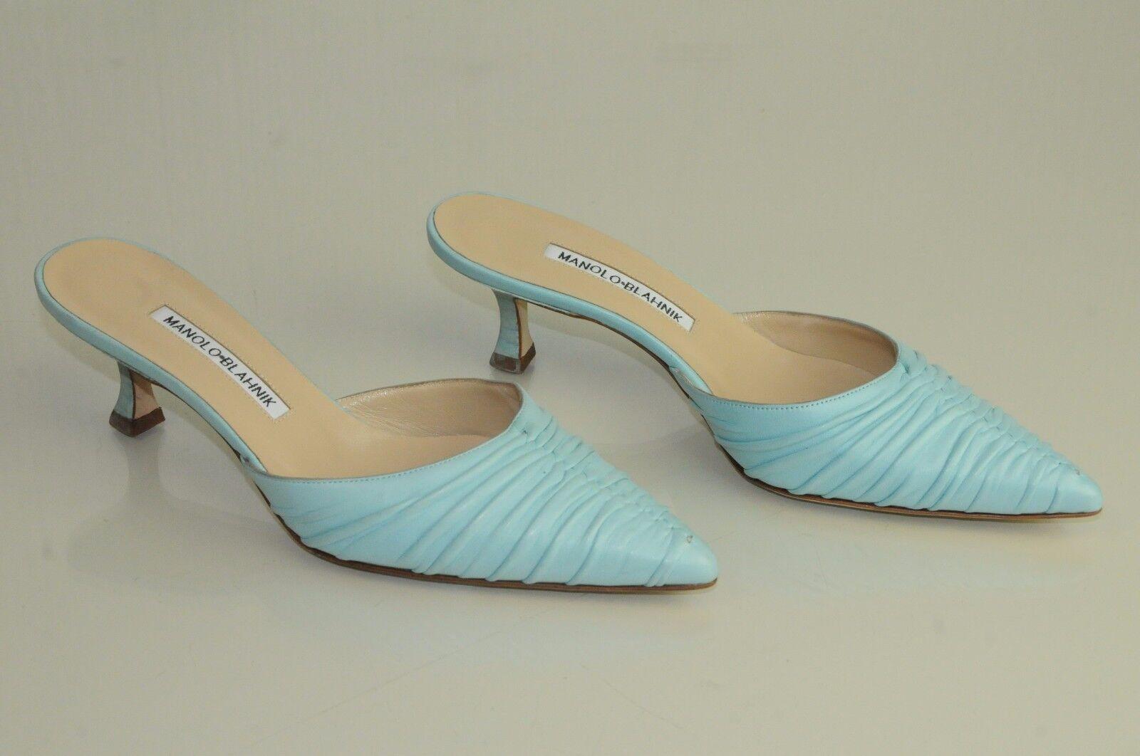 825 NEW MANOLO BLAHNIK lambskin Leather Azure bluee Mules Kitten Heels SHOES 37